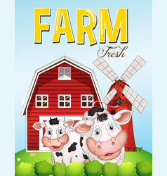farm scene with two cows vector image