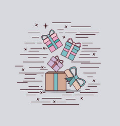 Gray background with cardboard box and gift boxes vector