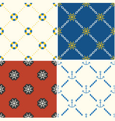 Navy and nautical seamless pattern theme set 5 vector