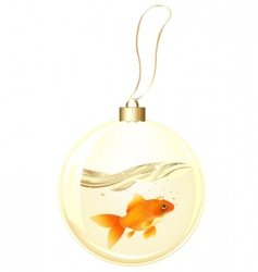 Golden ball with goldfish vector