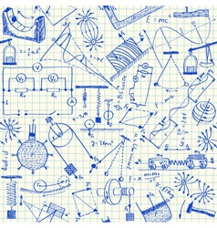 Physics doodles seamless pattern vector image