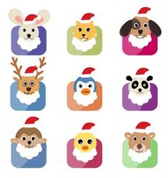 Christmas animals vector image