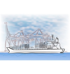 Drawing of loading cargo ship vector
