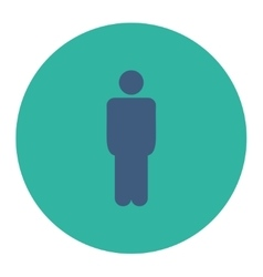 Man flat cobalt and cyan colors round button vector