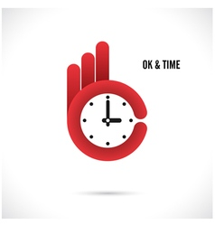 Creative hand and clock sign vector