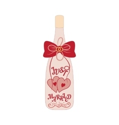 Wedding bottle of champagne with hearts and bow vector