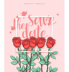 Design wedding postcard with roses petals and vector