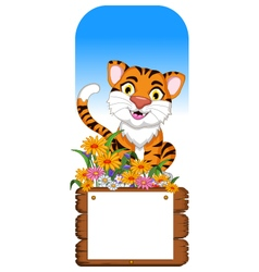 Cute tiger cartoon with blank board vector