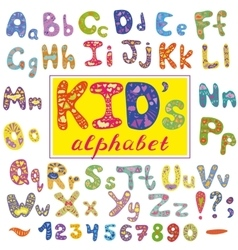 Alphabet in kid style with letters Hand vector image vector image