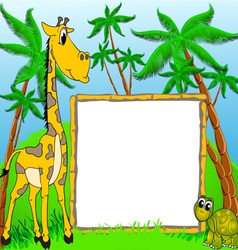 background giraffe and terrapin on background of t vector image vector image