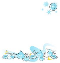 Background with teaware set winter vector