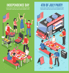 barbecue 4 july banner set vector image