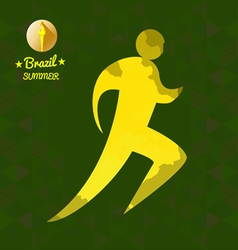 Brazil summer running sport card with an yellow ab vector