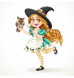 Cute little girl dressed as witch with a owl and vector
