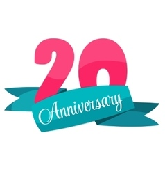 Cute template 20 years anniversary sign vector