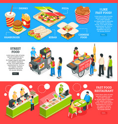 fast food isometric banners set vector image