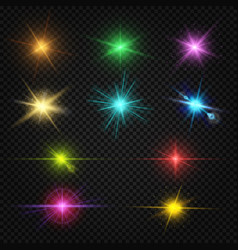 festive color lens flare light effects party vector image vector image