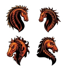Fire horse mascot of flaming wild mustang vector image vector image