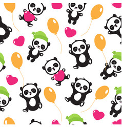 funny cartoon panda baby bear childrens vector image vector image