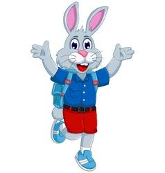 Funny rabbit cartoon going to school vector