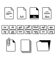 Hand draw doodle sketch set of document file vector image vector image