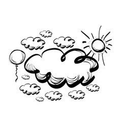 Hand drawing sky with clouds vector image