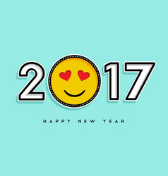 happy new year 2017 stitch patch icon card design vector image