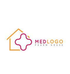 Health medical isolated logo monoline cross in vector