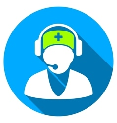 Hospital receptionist flat round icon with long vector
