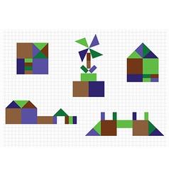 House bridge mill geometric shapes vector