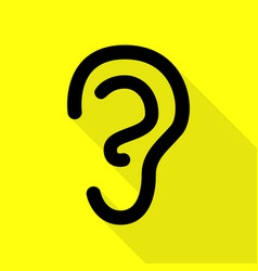 human ear sign black icon with flat style shadow vector image vector image