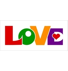 Love lettering colored symbols vector image