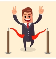 Manager or businessman at finish line a vector