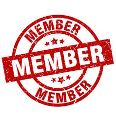Member round red grunge stamp vector