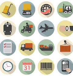 Modern Flat Design Logistics Icon Set vector image