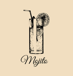 Mojito glass isolated hand drawn sketch of vector