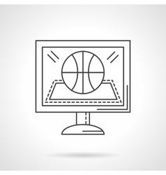 Online game flat line design icon vector