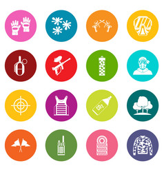 Paintball icons many colors set vector