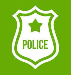 Police badge icon green vector