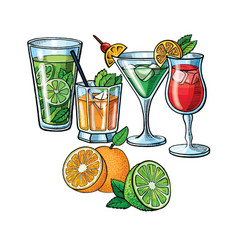pop art style hand drawing alcoholic cocktail and vector image vector image