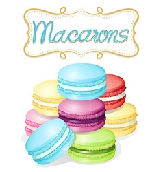 Poster of different flavours macarons vector