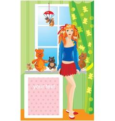Pretty girl with teddy bear toys vector image vector image