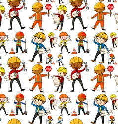 Seamless background with construction workers vector