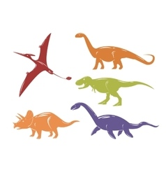 Set of colorful dinosaurs isolated on white vector image vector image