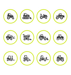 set round icons of tractors vector image vector image
