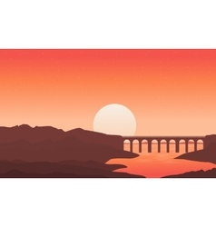 Silhouette of bridge on river backgrounds vector