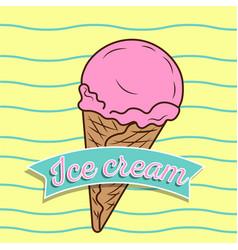 vintage ice cream poster design vector image vector image