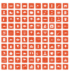 100 thunderstorm icons set grunge orange vector