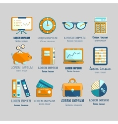 Bookkeeping flat icons vector