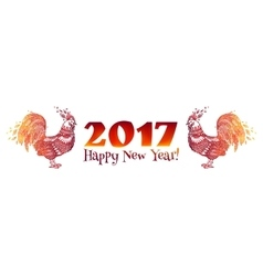Red doodle style fire colors roosters - chinese vector
